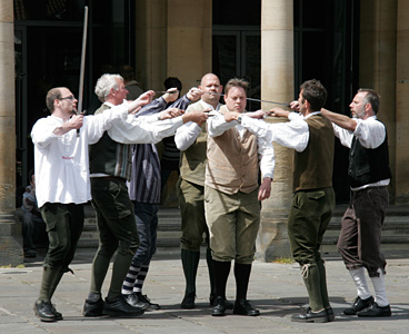 Photograph of Belgian sword dancers